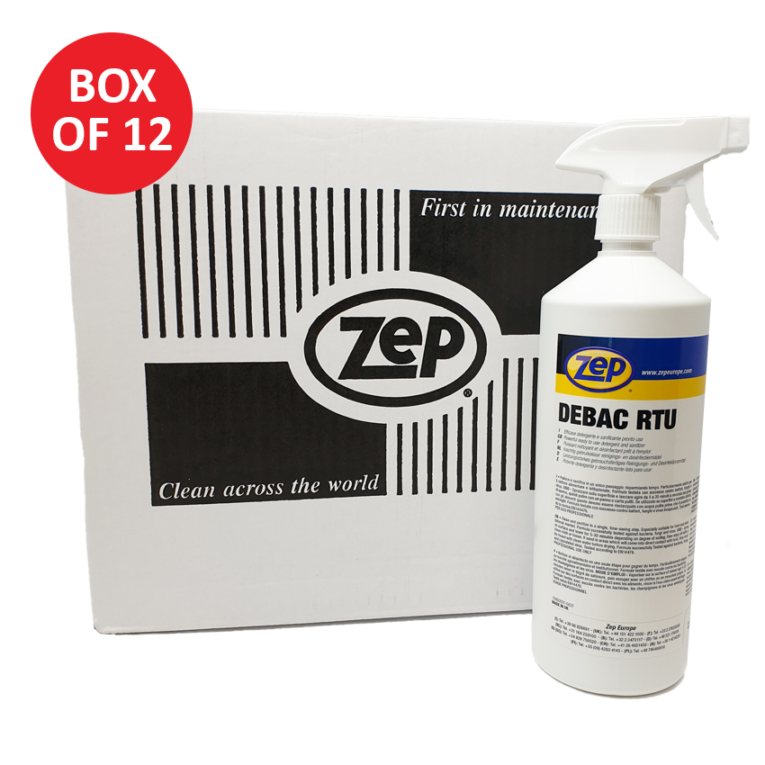 ZEP Debac RTU Sanitiser Surface Spray Box of 12 x 1LTR Trigger Spray